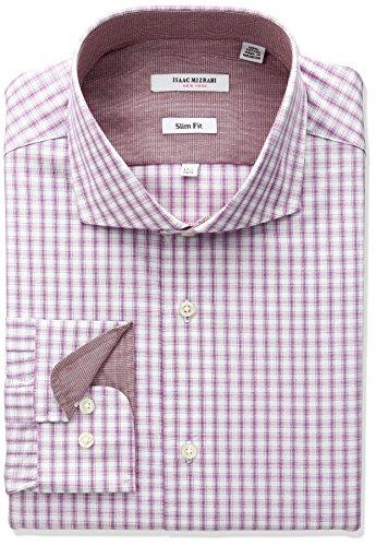 isaac-mizrahi-mens-slim-fit-multi-check-cut-away-collar-dress-shirt-fuchsia-17-neck-34-35-sleeve