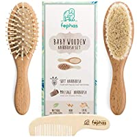 ‏‪Wooden Baby Hair Brush and Comb Set Eco friendly Hairbrush Kit for Newborn and Toddler Girl/Boy features Organic Soft Goat Hair- Natural Wood Bristles Baby Brush- Comb Ideal for Baby Registry‬‏