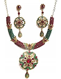 Jewelshingar Jewellery Zircon Stone Gold Plated Colour Multi-Colour Necklace Set For Women ( 40997-maroon-green-golden )