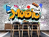 BHXINGMU Benutzerdefinierte Wandbilder Europäische Und Amerikanische Retro-Graffiti-Bar Restaurant Wanddekoration 240Cm(H)×330Cm(W)