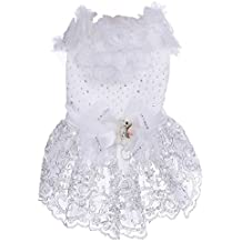 Ropa de boda vestido de novia de encaje del Mascota doméstico para el Perro de perrito