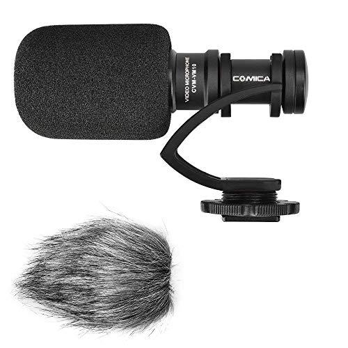 Comica Richtmikrofon Kamera Mikrofon Shotgun DSLR Video Externes Mic Kondensator für Videos mit Windschutz Blitzschuh, CVM-VM10II für Canon EOS Sony Alpha A7 Nikon Panasonic Camcorder Smartphone