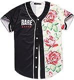 Pizoff Unisex Hipster Langarm V-Ausschnitt Offener Button American Strips und Star 3D Digital Print Offene Button Baseball Jersey Jacke