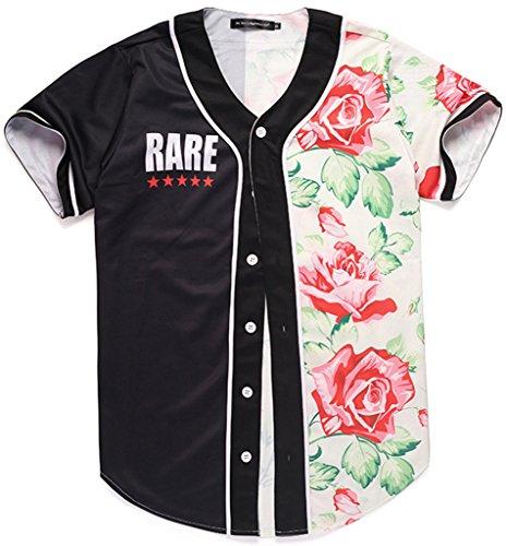 Pizoff Unisex Hipster Langarm V-Ausschnitt Offener Button American Strips und Star 3D Digital Print Offene Button Baseball Jersey Jacke (Co-baseball-jersey)