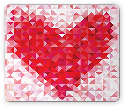 Whecom Hearts Gaming Mauspad, Modern Geometric Gridal Heart Shape Composed of Triangle and Diamond Mosaic Tiles, Standard Size Rectangle Non-Slip Rubber Mousepad, Multicolor 9.8 X 11.8 INCH -