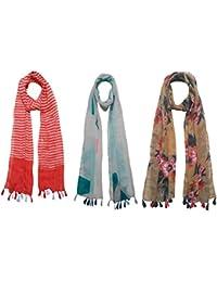 FusFus Women's Cotton Stoles(F064, Multicolour, Free Size) - Set of 3