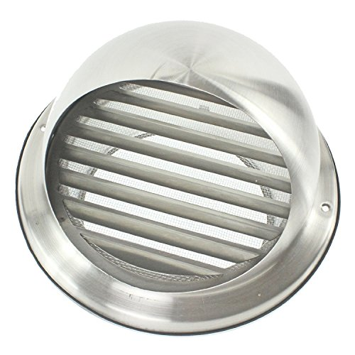 Spares2go Stainless Steel Round Bull Nosed External Wall Vent + Hose (100mm, 4 Diameter, Pipe Length: 4 Metres) by Spares2go
