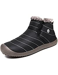 IceUnicorn Womens Mens Snow Boots Slip On Winter Warm Booties Fully Fur Lined Lightweight Anti-Slip Boots Size 3.5-12.5
