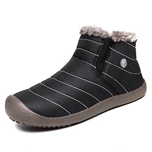 SITAILE Herren Damen Outdoor Knöchelhoch Slip on Komfort Boots Stiefel für Winter,Schwarz,42