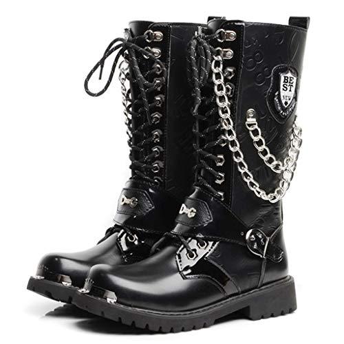 K-Flame Herren Gothic Punk Stiefel High Top PU Leder mit Schnalle Martin Stiefel Outdoor Arbeit Utility Schuhe Army Military Combat Schnürstiefel,Black,45 -