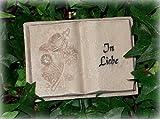 Grabdekoration Buch'In Liebe' aus Polyresin 9,5 cm