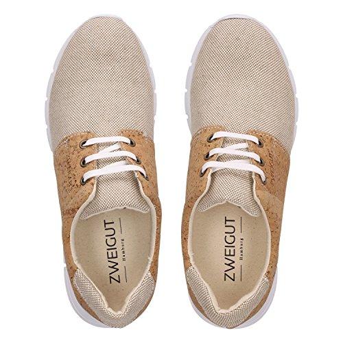 ZWEIGUT Hamburg- Echt #408 vegane Kork-Sneaker mit Flexibler Laufsohle Unisex Schuhe, Schuhgröße:42, Farbe:Beige-Kork - 5