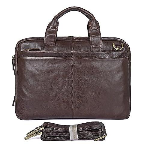 AB Earth Malette pour Homme en Cuir Véritable sac d'ordinateur portable sac de messager, M36 (brun)