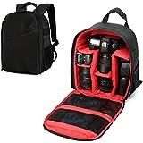 Mochila para cámaras acolchada a prueba de choques insertar protección flexible bolsas para cámaras réflex digital y videocámaras y otros accesorios (Rojo)