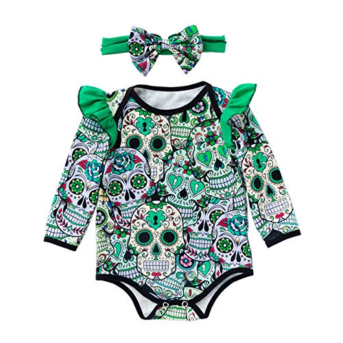 AIKSSOO Baby Girls Halloween Kostüm Schädel Body mit Stirnband Size 73 - Scary Girl Halloween Kostüm