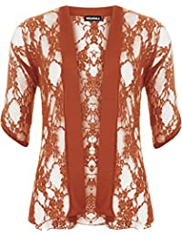 WearAll - Cardigan ouvert en dentelle à manches courtes - Cardigans - Femmes - Grandes tailles 40 à 54