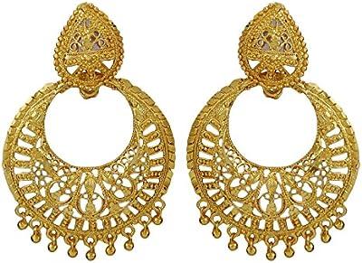 Matra Étnico Goldplated Bollywood Estilo Cuelgan Aretes De Joyería India Mujeres Nueva