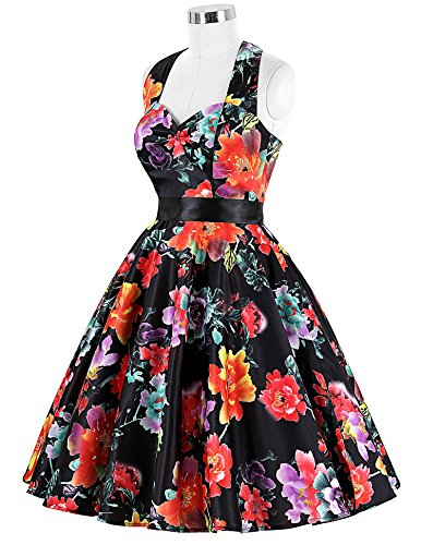 50s Retro Vintage Rockabilly Kleid Neckholder Festliches Kleid Petticoat Kleid CL6075-4