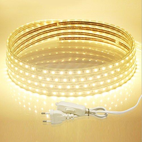 LED Streifen, Savvypixel 5m/16.4ft 220V LED Lichtband Wasserdicht LED Leisten mit EU Stecker für zu Hause Küche Festival Beleuchtung Dekoration ( Warmweiß ) -