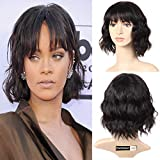 Peluca de pelo humano para mujer negra, pelo corto brasileño, pelo liso con brazaletes,...