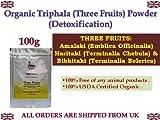 Organic Triphala Powder 100g Detoxification Three Fruits Amalaki Haritaki Vibhitaki Certified Organic Herbs