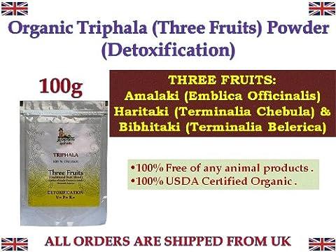 Organic Triphala Powder 100g Detoxification Three Fruits Amalaki Haritaki Vibhitaki Certified Organic Herbs *Ship from (Pulver Regular Zucker)