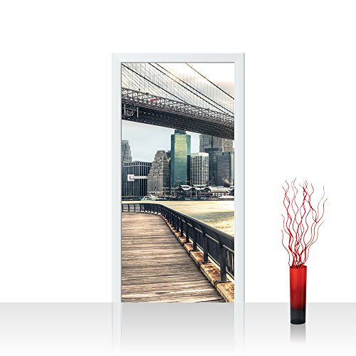 Brooklyn Bridge Lichter (Türtapete selbstklebend 100x211 cm PREMIUM PLUS Tür Fototapete Türposter Türpanel Foto Tapete Bild - NEW YORK BROOKLYN BRIDGE SKYLINE - New York USA Skyline Sephia Brooklyn Bridge NYC - no. 043)