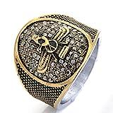 Beydodo Gothic Ring Titan für Herren Tier Adler Punk Ring Gold Silber Freundschaftsring Größe 57 (18.1)