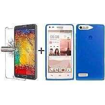 TBOC® Pack: Funda de Gel TPU Azul + Protector Pantalla Vidrio Templado para Huawei Ascend G6. Funda de Silicona Ultrafina y Flexible. Protector de pantalla Resistente a Golpes, Caídas y Arañazos.