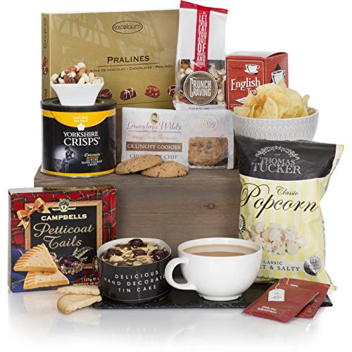 Teatime Delights Hamper - Luxury Food & Tea Gift Hampers for Him or for Her - Birthday & Thank You Hamper