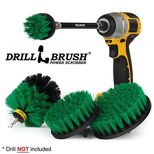 Cleaning Supplies - Drill Brush Power Scrubber Set with Extension - Dish Brush - Spin Brush Kit for Tile, Counter-tops, Stove, Oven, Sink, Trash Can, Floors - Grout Cleaner - Cast Iron, Pots and Pans -