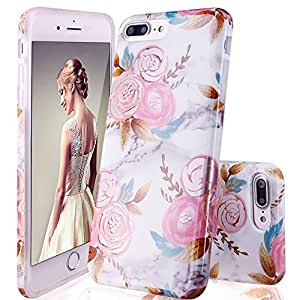 wholesale dealer 0f31c 7492f DOUJIAZ iPhone 7 Plus Case iPhone 8 Plus Case Marble Design Clear Bumper  TPU Soft Case Rubber Silico