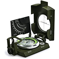 iitrust Boussole Militaire de la Boussole Professionnelle Waterproof IP65 en Métal Compas de Visée Fluorescent Equipé de Clinomètre avec Sac de Transport pour Aventure/Camping/Course d'Orientation