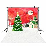 Allenjoy 5x7ft Polyester Fantacy Snowy Christmas Night Children Backdrop Cartoon Background for Photography Or Party Decoration