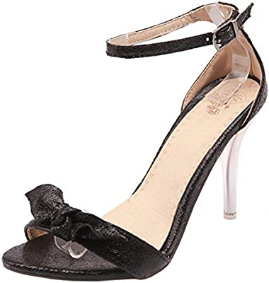 COOLCEPT Mujer Moda Al Tobillo Charming Sandalias Oro Plata Boda Fiesta Zapatos