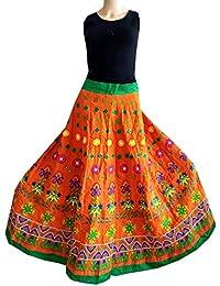 Nandi Women's Cotton Indian Traditional Embroidery Long Skirt (ESKT1, Orange, Free Size)