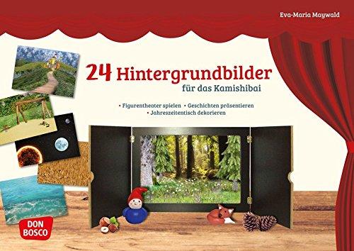 24 Hintergrundbilder für das Kamishibai: Figurentheater spielen – Geschichten präsentieren – Jahreszeitentisch dekorieren (Zubehör für das Erzähltheater Kamishibai)