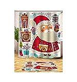 AieniD Badezimmer Deko Hängend Weihnachten Weihnachtsmann Und Schneemann Mehrfarbig Bad Vorhang Size:180X200CM