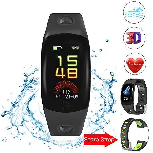 Evershop Fitness Armband Schwimmen IP68 Fitness Tracker wasserdicht, Fitness Uhr mit Herzfrequenzmessung, Kalorienzähler, Schlafmonitor für Android iOS APP auf Deutsch (Black)