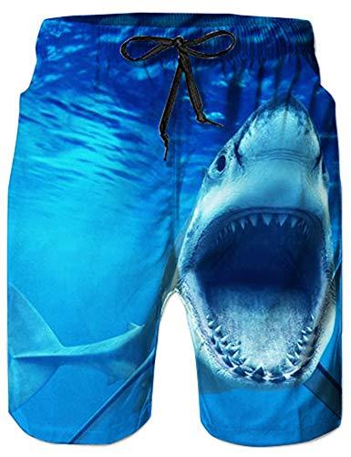 Loveternal Schwimmhose Herren Sommer Hawaii Badeshorts Herren 3D Hai Badehose Herren Blau S