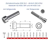 10 Stk. Zylinderschrauben mit Innensechskant nach DIN 912 - ähnlich ISO 4762 mit Voll- und Teilgewinde (A2 - AISI 304, M5x40)