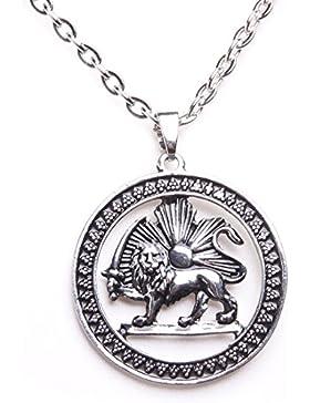 Antik Silber PT Shir khorshid Lion Sun Pahlavi Halskette iranischen Persisch Kette Iran Art