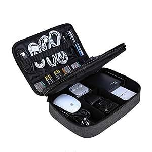 BAGSMART Organizzatore Elettronica Universale per Accessori Elettronici Custodia da Viaggio Impermeabili Portatile per Cavi USB, iPad, Power Bank e Disco Rigido Nero