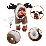 RC GearPro Cute Pet Dog Christmas Elk Costume Puppy Hoodie Coat Clothes for Dogs Cats Soft Coral Velvet Fleece Apparel (XS)