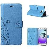 MOONCASE Galaxy A3 (2016) Bookstyle Étui Fleur Housse en Cuir Case à rabat pour Samsung Galaxy A3 (2016) A310 Coque de protection Portefeuille TPU Case Bleu