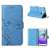 MOONCASE Galaxy A3 (2016) Hülle Blume Premium PU Leder Schutzhülle für Samsung Galaxy A3 (2016) A310 Bookstyle Tasche Schale TPU Case mit Standfunktion Blau