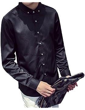 BOZEVON Otoño y el invierno de los nuevos hombres de color sólido de color sólido camisa de los hombres de manga...