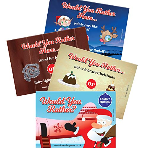 WOULD YOU RATHER CHRISTMAS GAMES - 20 A6 Postcard sized - Christmas Games Families - Christmas Eve Box Fillers - stocking fillers