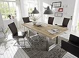 Holzwerk Esstisch Wildeiche Natur Vollmassiv Tischplatte 240x100 Edelstahl mit Baumkante