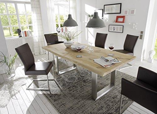 Holzwerk Esstisch Wildeiche Natur Vollmassiv Tischplatte 240×100 Edelstahl mit Baumkante